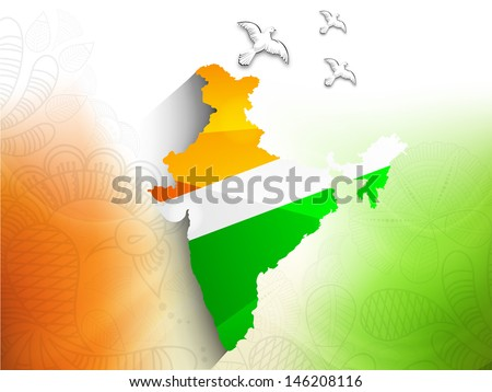 Republic of India map in Indian tricolors with flying pigeons for Independence Day and Republic Day.  - stock vector