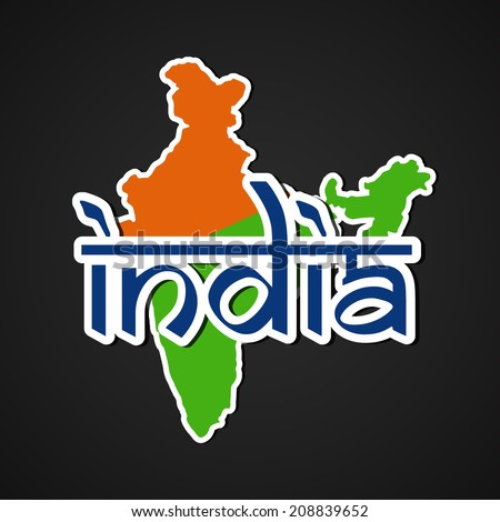 Republic of India Map in saffron and green color with stylish blue text India on grey background for 15th of August, Indian Independence Day celebrations.  - stock vector