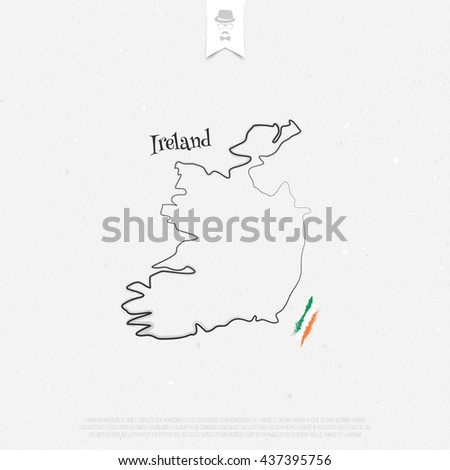 Republic of Ireland outline map and official colors over paper texture. vector Irish map thin line icon on white background. EU geographic banner template. travel and business concept logotype - stock vector