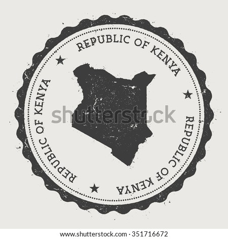 Republic of Kenya. Hipster round rubber stamp with Kenya map. Vintage passport stamp with circular text and stars, vector illustration - stock vector