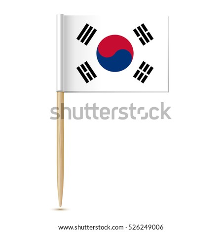 Republic of Korea flag. South Korea toothpick flag on white background 10eps