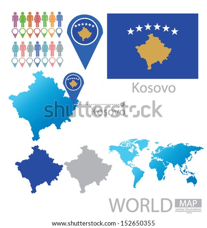 Republic kosovo flag world map vector stock vector 152650355 republic of kosovo flag world map vector illustration gumiabroncs Image collections