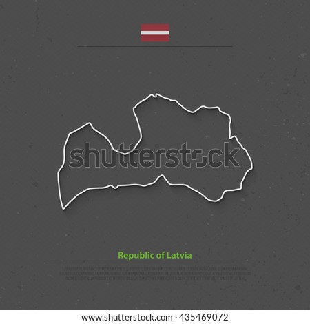 Republic of Latvia isolated map and official flag icons. vector Latvian political thin line map over black background. European Union country geographic banner template - stock vector