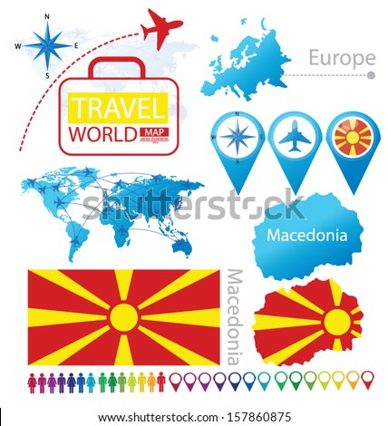 Republic macedonia flag world map travel stock vector 157860875 republic of macedonia flag world map travel vector illustration publicscrutiny