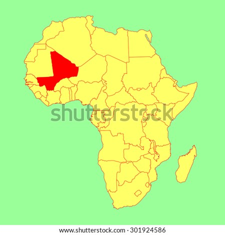 Republic of Mali vector map isolated on Africa map. Editable vector map of Africa. - stock vector