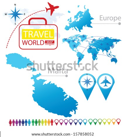 Republic of Malta. Map. Europe. Modern globe. Travel vector Illustration. - stock vector