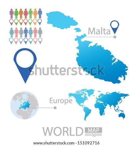 Republic of Malta. Map. Europe. Modern globe. vector Illustration. - stock vector