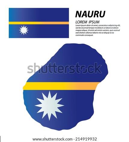 Nauru Initial Letter Country Map Flag Stock Vector - Nauru map vector