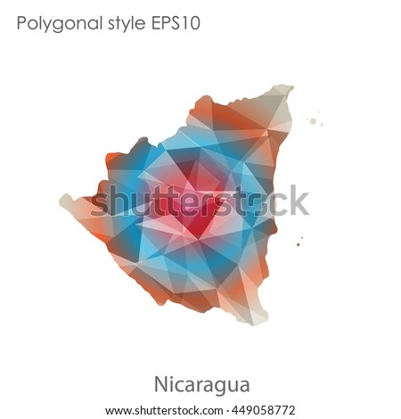 Republic of Nicaragua in geometric polygonal style.Abstract gems triangle,modern design background. Vector illustration EPS10