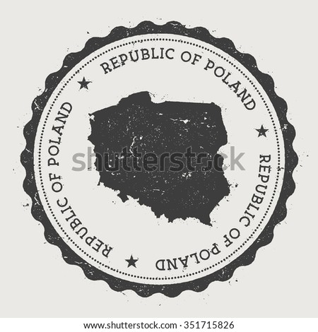 Republic of Poland. Hipster round rubber stamp with Poland map. Vintage passport stamp with circular text and stars, vector illustration - stock vector