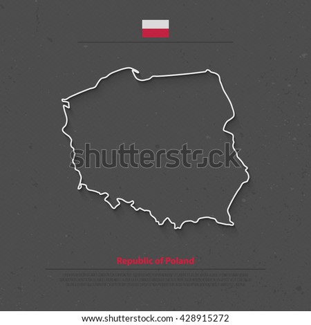 Republic of Poland isolated map and official flag icons. vector Polish political map thin line icon. European country geographic banner template - stock vector