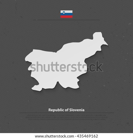 Republic of Slovenia isolated map and official flag icons. vector Slovene political map 3d illustration over gray paper. European country geographic banner template