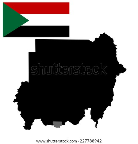Republic of Sudan vector map high detailed silhouette illustration isolated on white background. original and simple Sudan flag isolated vector in official colors and Proportion Correctly. - stock vector