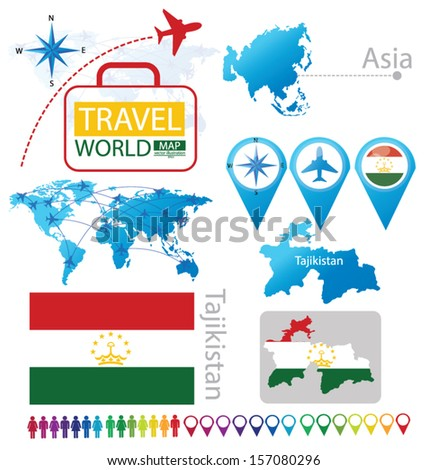 Republic of Tajikistan. flag. Asia. World Map. Travel vector Illustration.