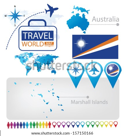 Republic of the Marshall Islands. Australia. flag. World Map. Travel vector Illustration. - stock vector