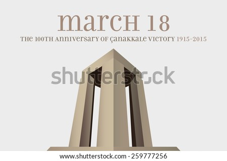 Republic of Turkey National Celebration Card, Background, Canakkale Victory Monument, Gray background - stock vector
