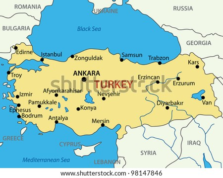 Republic of Turkey - vector map - stock vector