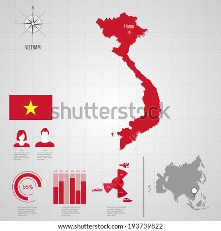 Republic VIETNAM Flag Asia World Map Stock Vector 193739822 ...