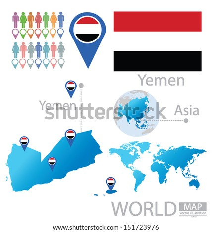 Republic of Yemen. flag. Asia. World Map. vector Illustration. - stock vector