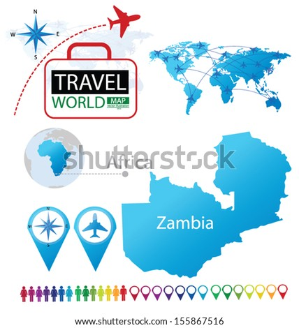 Republic of Zambia. World Map. Travel vector Illustration. - stock vector