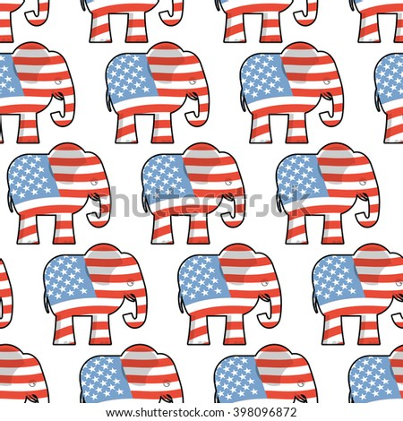 Republican Elephant seamless pattern. Elephant texture. Symbol of political party America. Political illustration for elections America. Texture for election and debate America. Political background - stock vector