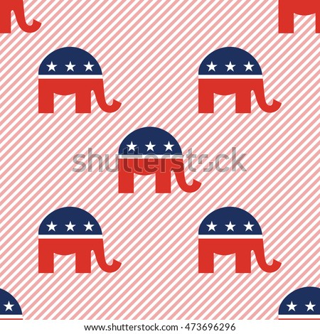 Republican elephants seamless pattern on red stripes background. USA presidential elections patriotic wallpaper with republican elephants. Wrapping pattern vector illustration.