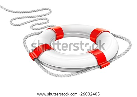 rescue circle for help in water - vector illustration