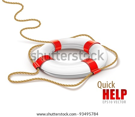 rescue ring for quick help vector illustration isolated on white background. EPS10. Gradient mesh used. Transparent objects used for shadows and lights drawing - stock vector