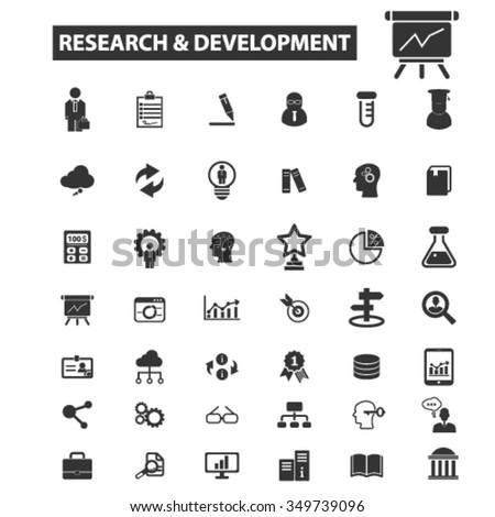 research, development icons - stock vector