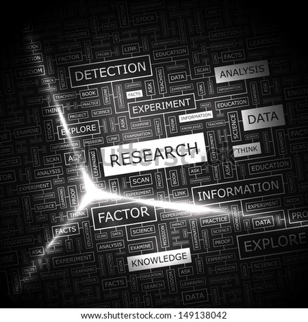 RESEARCH. Word cloud concept illustration. Graphic tag collection. Wordcloud collage with related tags and terms.  - stock vector