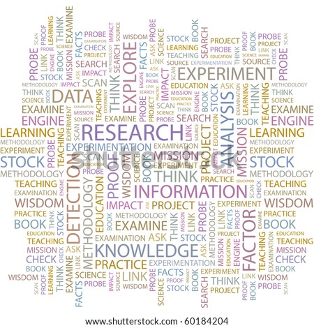 RESEARCH. Word collage on white background. Illustration with different association terms. - stock vector