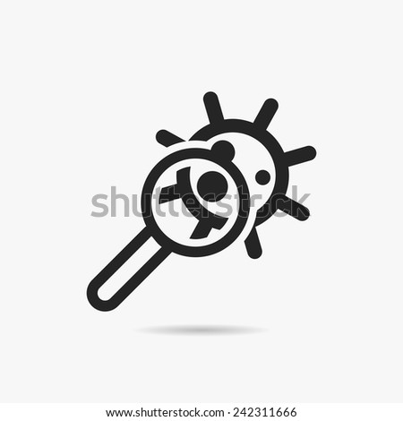 Researching & Virus icon - stock vector