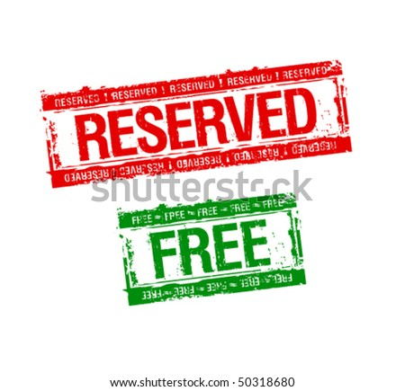 reserved and free rubber stamps set - stock vector