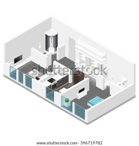 Residential apartment isometric icon set vector graphic illustration - stock vector