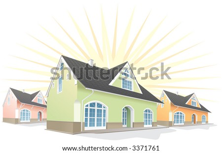 Residential area, Houses, real estate for sale. Vector illustration - stock vector