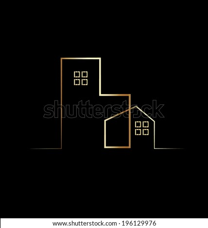 Residential building house silhouette line art vector icon  - stock vector