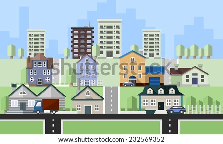 Residential house buildings flat neighborhood real estate background vector illustration - stock vector