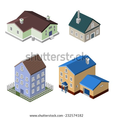 Residential house isometric buildings real estate decorative icons set isolated vector illustration - stock vector