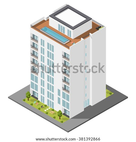 Residential house with a private garden and penthouse apartments isometric icon set vector graphic illustration - stock vector