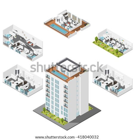 Residential house with apartments in a cut isometric icons set vector graphic illustration - stock vector