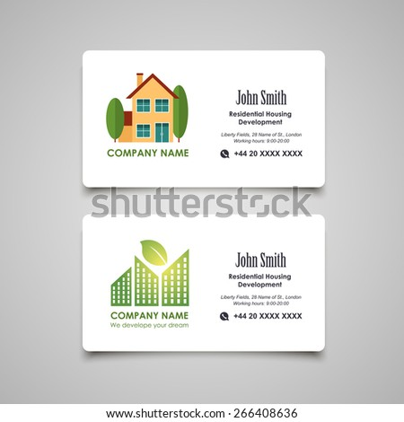 Residential housing developing or rent business card vector template - stock vector