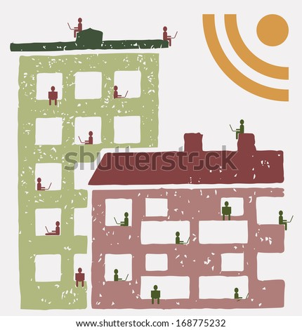 Residents of an building using social networks RSS - stock vector