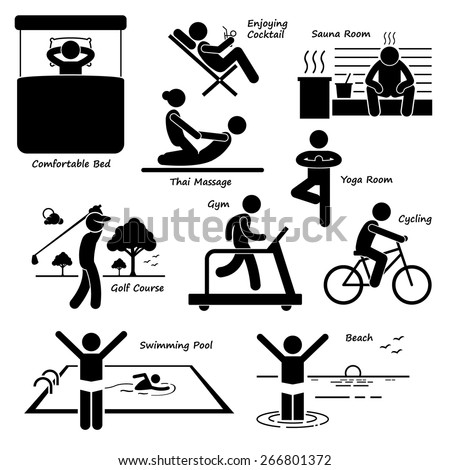 Resort Villa Hotel Holiday Vacation Tourist Activity Stick Figure Pictogram Icons - stock vector