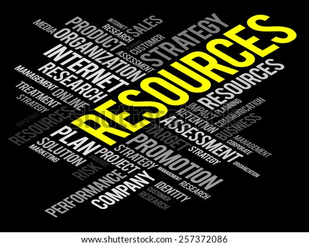 RESOURCES word cloud, business concept - stock vector