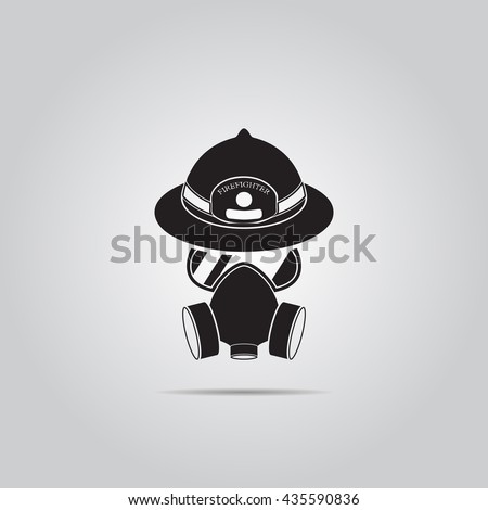 respirator and helmet vector icon for web and mobile