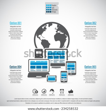 Responsive and scalable web design infographics - EPS 10 vector. Can be used for any project. - stock vector