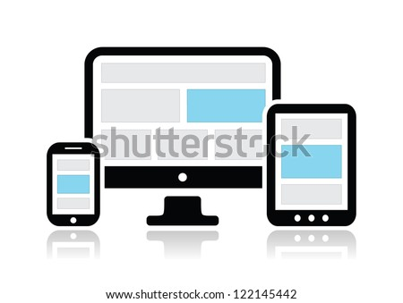 Responsive design for web- computer screen, smartphone, tablet icons set - stock vector
