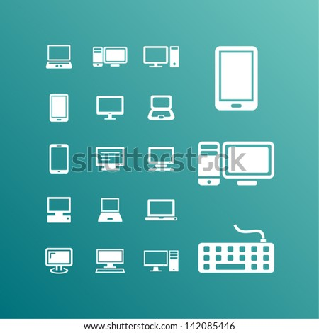 Responsive design for web- computer screen, smartphone, tablet icons set.