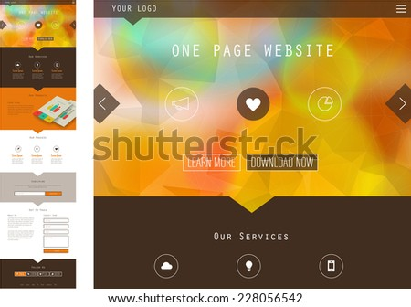 Responsive landing page or one page website template in flat design with modern polygonal and blurred header background - stock vector