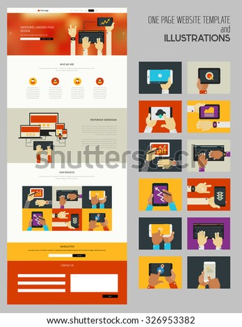 Responsive landing page or one page website template with trendy illustrations collection - stock vector